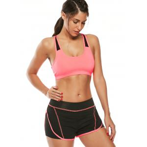 Strappy Sports Padded Bra Et Layer Running Shorts -