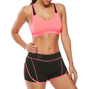 Strappy Sports Padded Bra and Layer Running Shorts - Watermelon Red - S