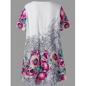3D  Printed Rose Plus Size Tunic Top - FLORAL 4XL