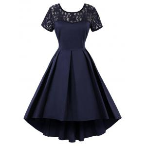 High Low Lace Insert Vintage Dress