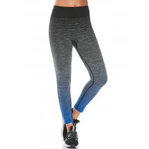 High Rise Ombre Printed Fitness Leggings - Black - M
