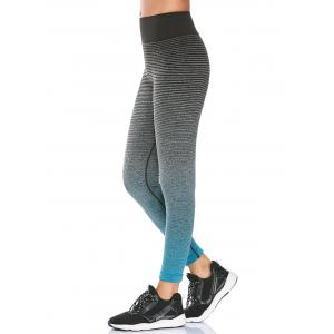 High Rise Ombre Printed Fitness Leggings - Azure - M