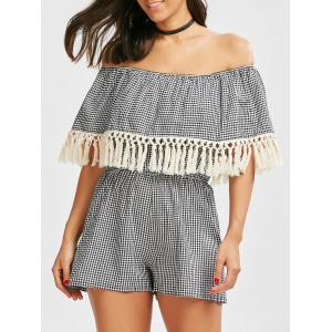 Off The Shoulder Gingham Fringed Romper