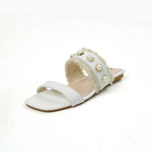 Faux Pearls PU Leather Slippers -