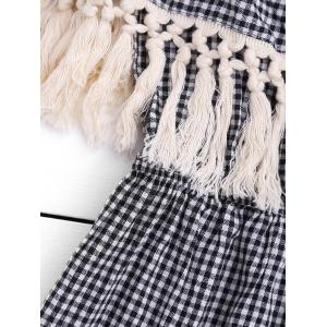 Off The Shoulder Gingham Fringed Romper - CHECKED S