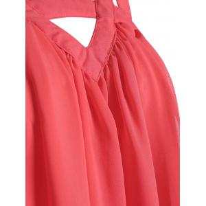 Sleeveless Cut Out Chiffon Dress - WATERMELON RED XL