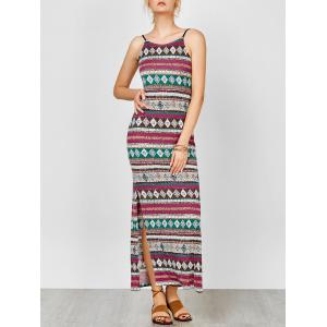 Aztec Print Backless Maxi Slip Summer Dress