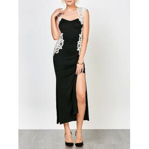 Lace Panel High Slit Evening Dress - Black - L