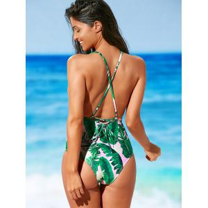 Palm Print Backless Padded One Piece Criss Cross Swimsuit - LIGHT PINK S
