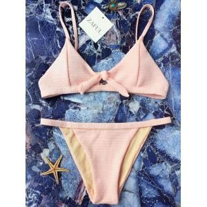 Textured Front Tied Bikini Set