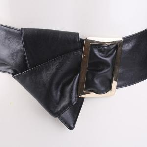 Metal Rectangle Buckle Wide Faux Leather Belt -