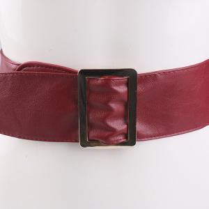 Metal Rectangle Buckle Wide Faux Leather Belt - WINE RED