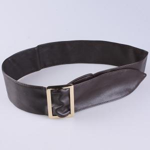 Metal Rectangle Buckle Wide Faux Leather Belt - COFFEE
