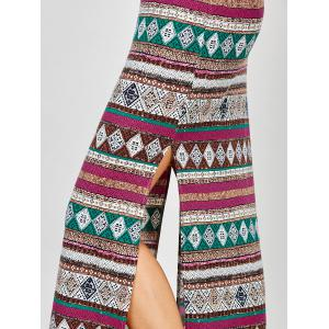 Aztec Print Backless Maxi Slip Summer Dress - COLORMIX M