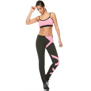 Sports Padded Bra and Two Tone Fitness Leggings -