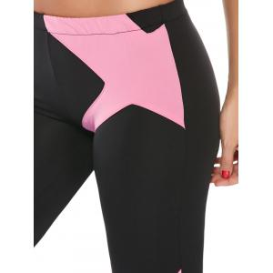 Sports Padded Bra and Two Tone Fitness Leggings - PINK L