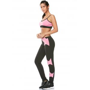 Sports Padded Bra and Two Tone Fitness Leggings - PINK XL