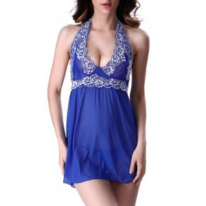 Sheer Lingerie Embroidered Halter Sleep Dress - Blue - Xl