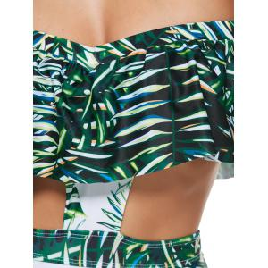 Leaf Print Bandeau One Piece Underwire Monokini Swimsuit - GREEN M