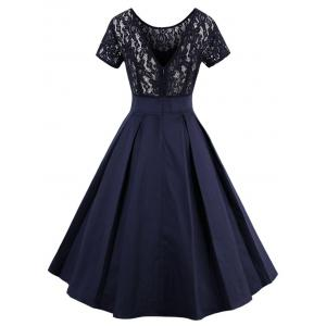 High Low Lace Insert Vintage Semi Cocktail Dress -