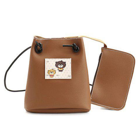 Pouch Bag and Cartoon Print Crossbody Bag - Brown