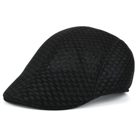 Summer Hollow Out Mesh Newsboy Hat - Black - L