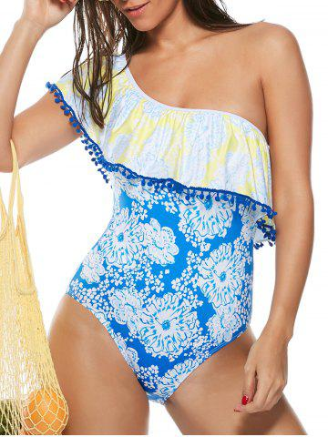 Affordable Ruffles One Shoulder Floral Swimsuit BLUE XL