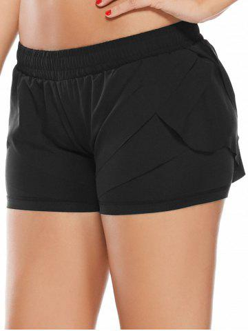 Hot Elastic Waist Layered Gym Running Shorts