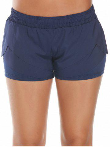 Online Elastic Waist Layered Gym Running Shorts - L DEEP BLUE Mobile