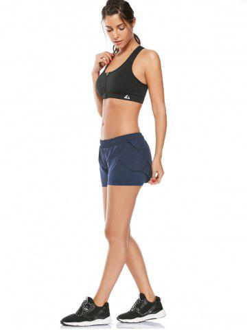 Hot Elastic Waist Layered Gym Running Shorts - L DEEP BLUE Mobile