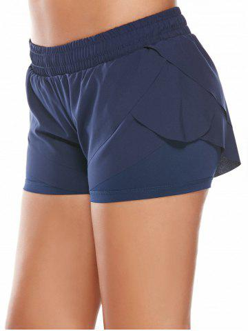 Discount Elastic Waist Layered Gym Running Shorts - L DEEP BLUE Mobile