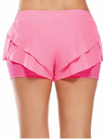 Online Elastic Waist Layered Gym Running Shorts - M PINK Mobile