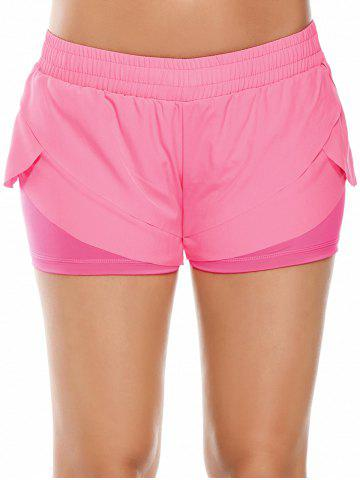 Best Elastic Waist Layered Gym Running Shorts - M PINK Mobile