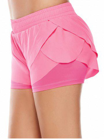 Outfit Elastic Waist Layered Gym Running Shorts - M PINK Mobile