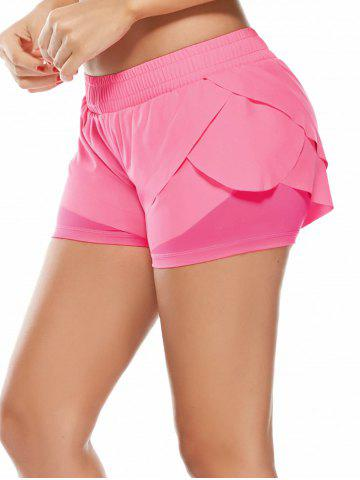 Hot Elastic Waist Layered Gym Running Shorts - M PINK Mobile