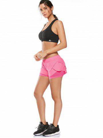 Trendy Elastic Waist Layered Gym Running Shorts - M PINK Mobile