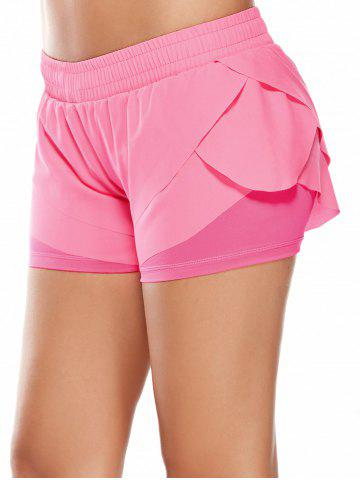 Cheap Elastic Waist Layered Gym Running Shorts - M PINK Mobile