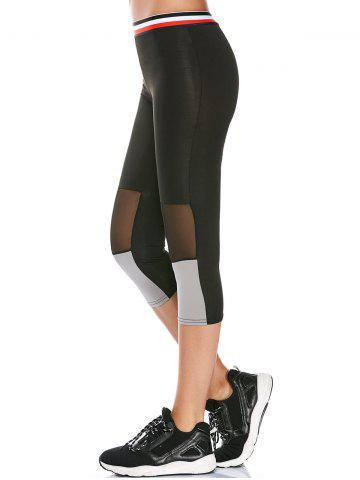 Outfit Striped Trim Mesh Panel Gym Running Capris Leggings