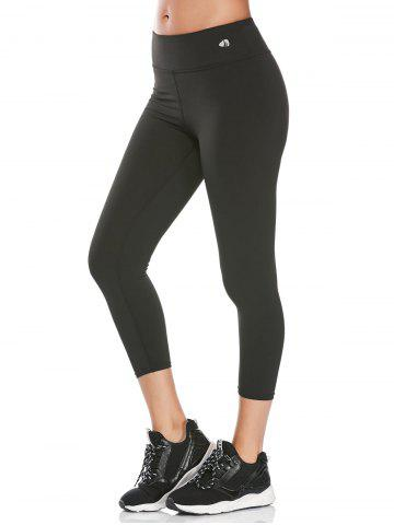 High Rise Fitness Gym Capri Leggings - Black - M