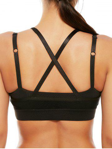 Best Mesh Panel Padded High Neck Workout Bra - L BLACK Mobile