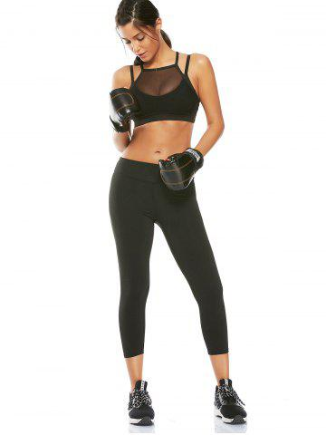 Hot Mesh Panel Padded High Neck Workout Bra - L BLACK Mobile