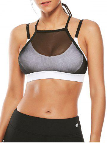 Trendy Mesh Panel Padded High Neck Workout Bra - L WHITE Mobile