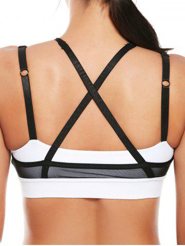 Affordable Mesh Panel Padded High Neck Workout Bra - L WHITE Mobile