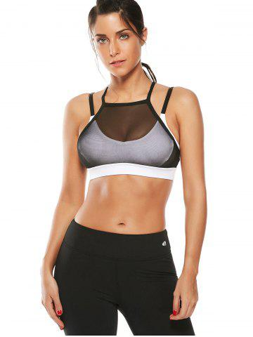 Shop Mesh Panel Padded High Neck Workout Bra - L WHITE Mobile