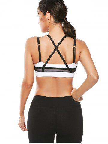 Best Mesh Panel Padded High Neck Workout Bra - L WHITE Mobile