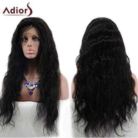 Shops Adiors Long Free Part Layered Shaggy Wavy Lace Front Synthetic Wig - BLACK  Mobile