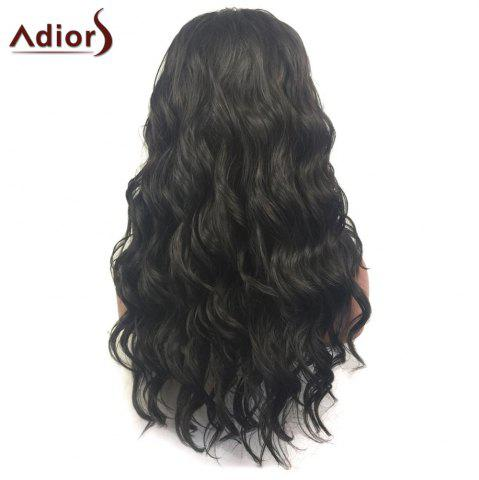 Trendy Adiors Long Free Part Layered Shaggy Wavy Lace Front Synthetic Wig - BLACK  Mobile