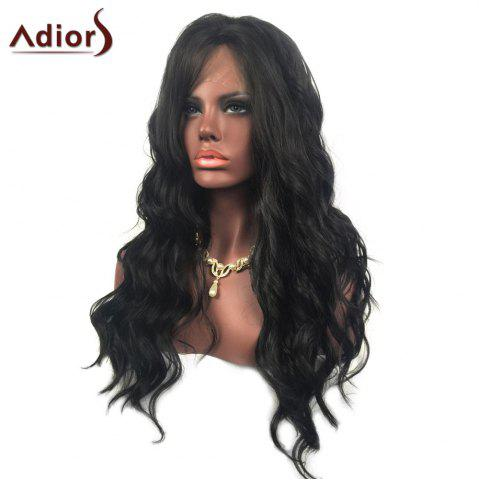 Outfits Adiors Long Free Part Layered Shaggy Wavy Lace Front Synthetic Wig - BLACK  Mobile