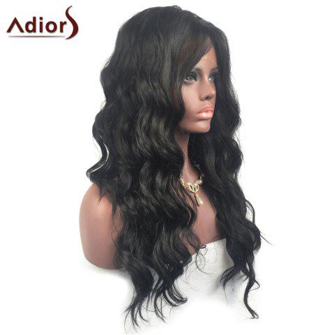 New Adiors Long Free Part Layered Shaggy Wavy Lace Front Synthetic Wig - BLACK  Mobile