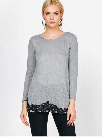 Outfits Long Sleeve Lace Trim T-Shirt - S GRAY Mobile